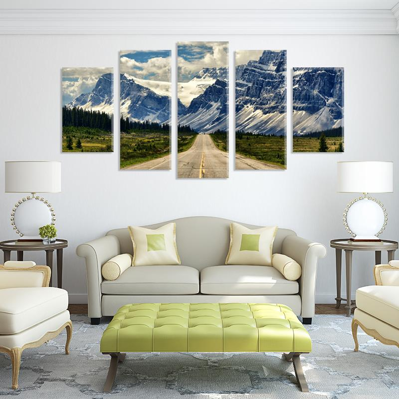 Alps / Alpen Snow Mountain 5pcs Painting on canvas room decoration print poster picture canvas unframed Free shipping(China (Mainland))