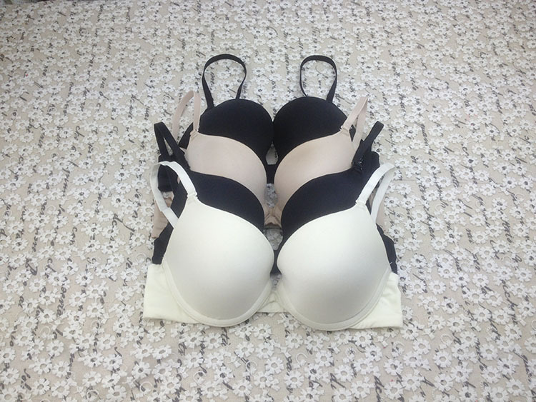 wholesale and retails 2015 NEW! women simple underwired sexy lingerie black nude color plunge padded bra (15-01-181)(China (Mainland))