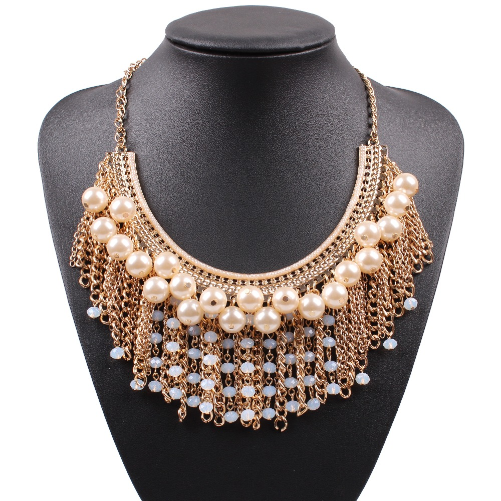 2016 new arrival design fashion pearl necklace big chunky pendant gold plated chain necklace for women jewelry wholesale(China (Mainland))