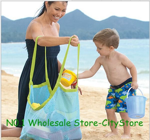 Free Shipping 50Pcs/lot large sand away beach mesh bag Children Beach Toys Clothes Towel Bags baby toy collection bag(China (Mainland))