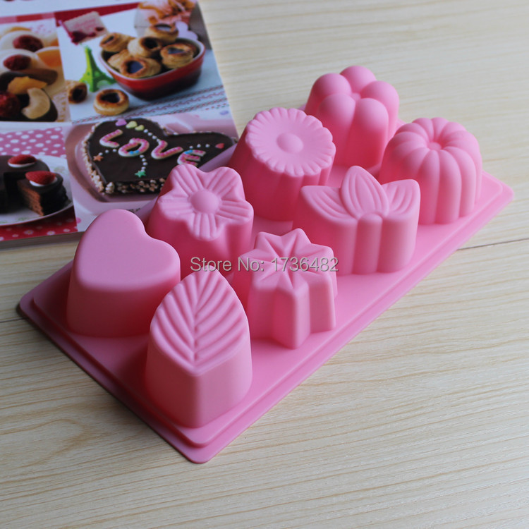 8holes differant partens silicone mold/Baking tools molds for Bread chocolate mousse cake form bakeware tool free shipping(China (Mainland))