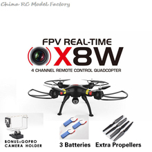 100% Original SYMA X8W RC Drone Quadcopter with Real Time WiFi Transmission FPV Wide Angle Camera Quadcopter 2 free batteries