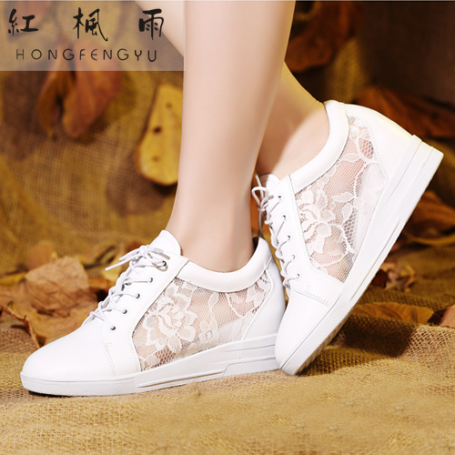 2014 Fashion Casual Elevator Shoes Genuine Leather Breathable Gauze Lace Sneakers Black White Women - Shanghai Sharon Store store