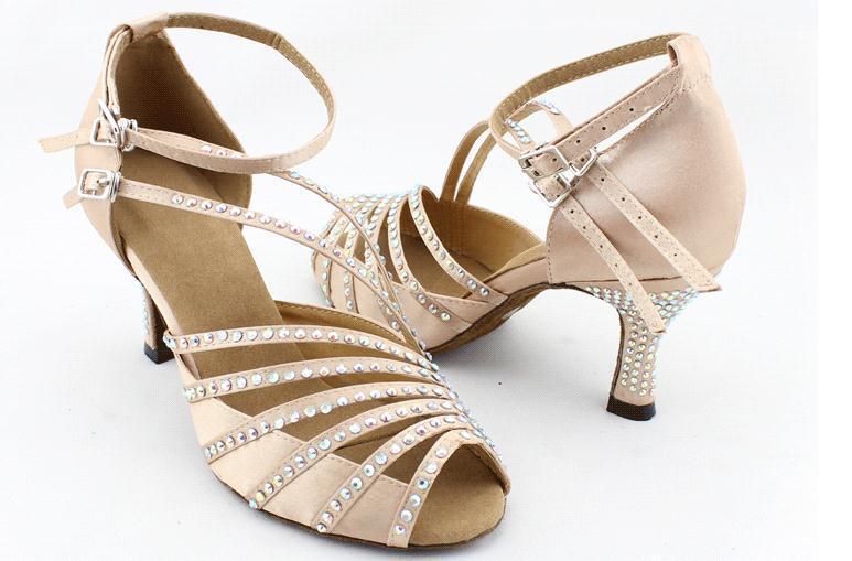 206 Brand popular Skin black Satin Rhinestones women's Latin dance shoes Ballroom dancing shoes Salsa Samba Party Square shoes(China (Mainland))