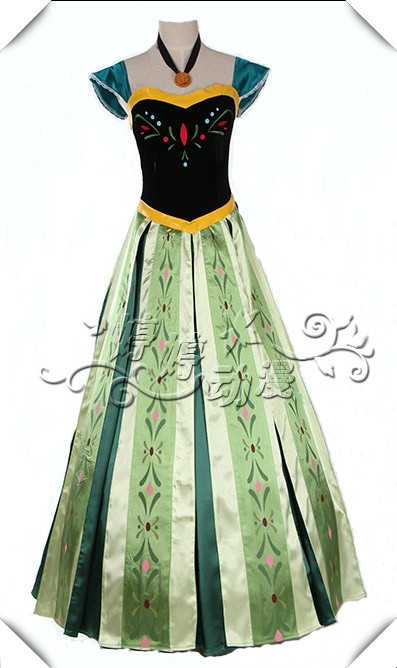 Movie Cosplay Costume Professional Anna Dress for Party Theme Costumes Princess For Womens Kids(China (Mainland))