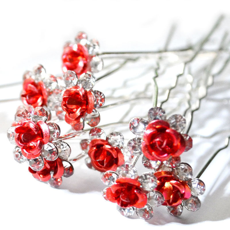 20Pc/Lot New Women Lady Bridal Wedding Crystal Diamante Flower Rose Hairpin Clip Barrettes Sticks Hair Jewellery Accessories(China (Mainland))
