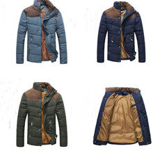 New Winter Style Men's Contrast Color Fashion Brief Stitching Warm Jacket Thickening Cotton-padded Slim Jacket MF-5457