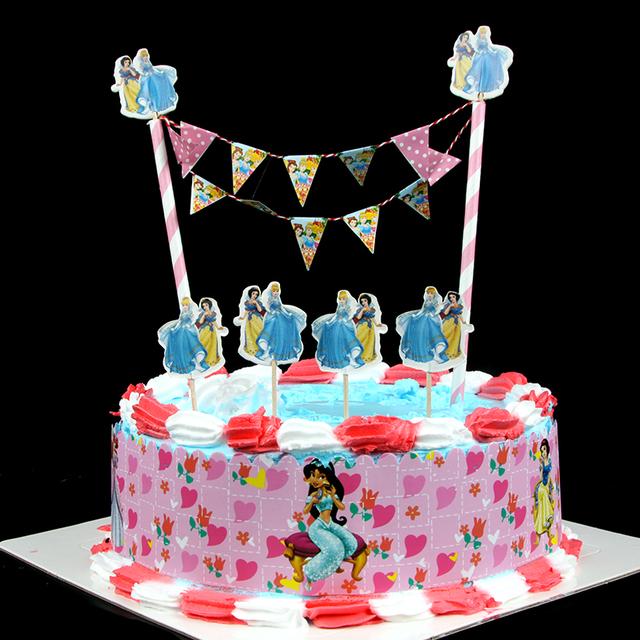 Birthday Cake Bunting Decoration : Popular DIY Cake Flag Cartoon Three Princess Cake Wrapper ...