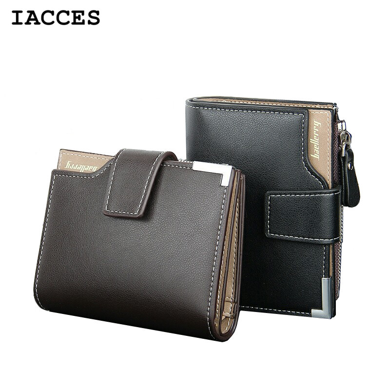 Fashion Men Short Wallets Balck Brown Bifold Wallet Mens Genuine PU Leather Card Holder Coin With Zipper Wallet Purses Pockets(China (Mainland))