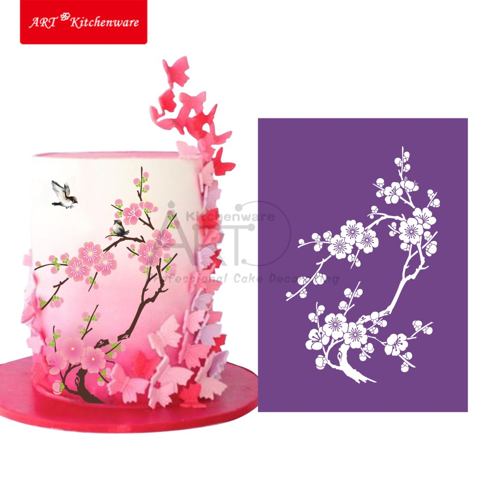 Plum Blossom Mesh Stencil Lace Cake Stencil DIY Cake Decorating Tools Soft Fabric Cake Stencils for Painting Fondant Mold MST-13(China (Mainland))