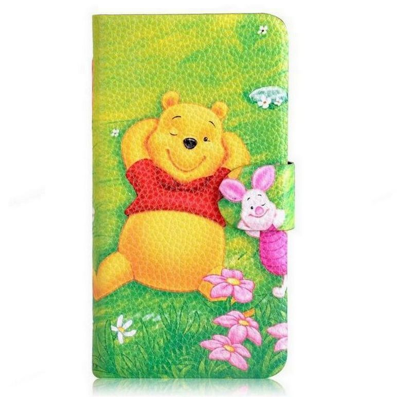 Green Winnie the Pooh Bear Tigger Pig Card Slot Leather PU Flip Case Cover For Sony Xperia M C1905(China (Mainland))
