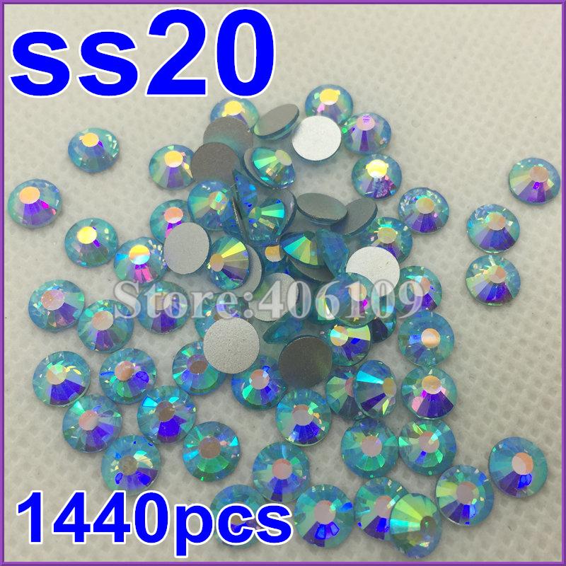 hot deals discount new SS20 1440pcs Aquamarine AB silver plated Flat Back Non Hotfix sticker glue on rhinestone(China (Mainland))