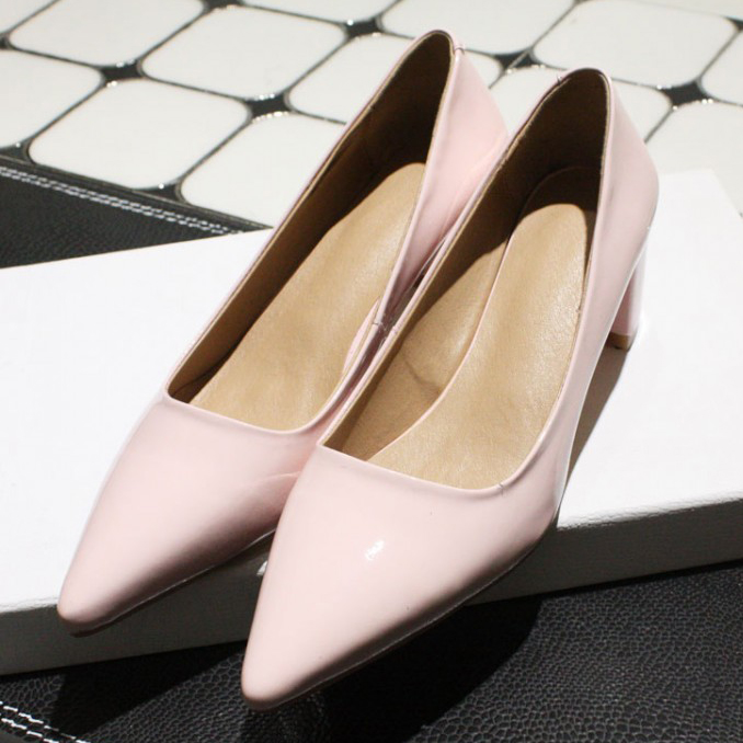 Black / silver / pink 2016 Women Fashion Full Grain Leather Pumps Office Lady Party Heel Pointed Toe shoes for women<br><br>Aliexpress