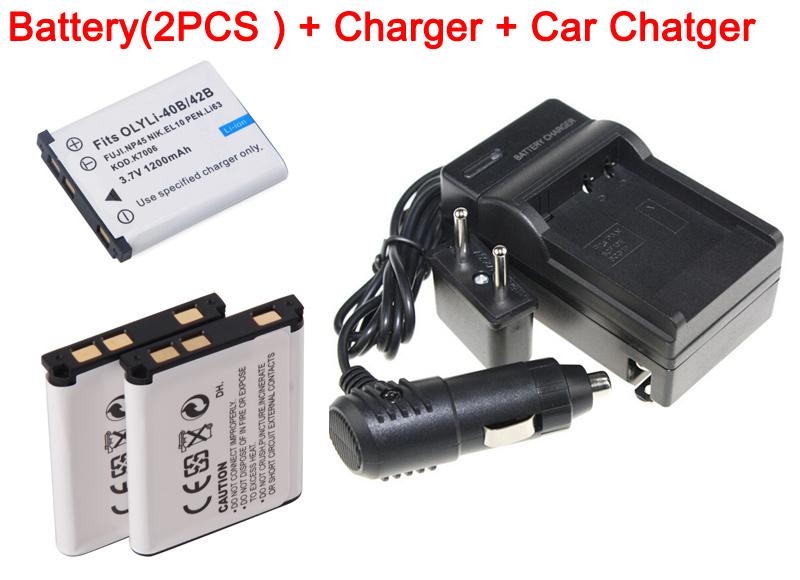 Гаджет  2pcs 1200mAh Li-40B/42B Battery + Li40B/42B battery car charger + Li 40B/42B camera battery charger For Olympus None Электротехническое оборудование и материалы