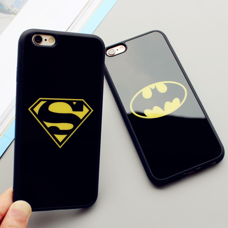 Hot Sales Lover Cell Phone Case For Iphone 5 5S SE 4 inch Superman Batman Cases Soft Silicone Frame Mirror Phone Back Covers(China (Mainland))