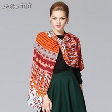 2014 women's winter wool scarf female large long printed brand designer 100% wool scarf shawls cashmere pashmina 170*50cm(China (Mainland))