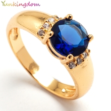 Yunkingdom Shiny big Cubic Zirconia Rings For Women ruby sapphire jewelry 18k gold filled ring 6 colors(China (Mainland))