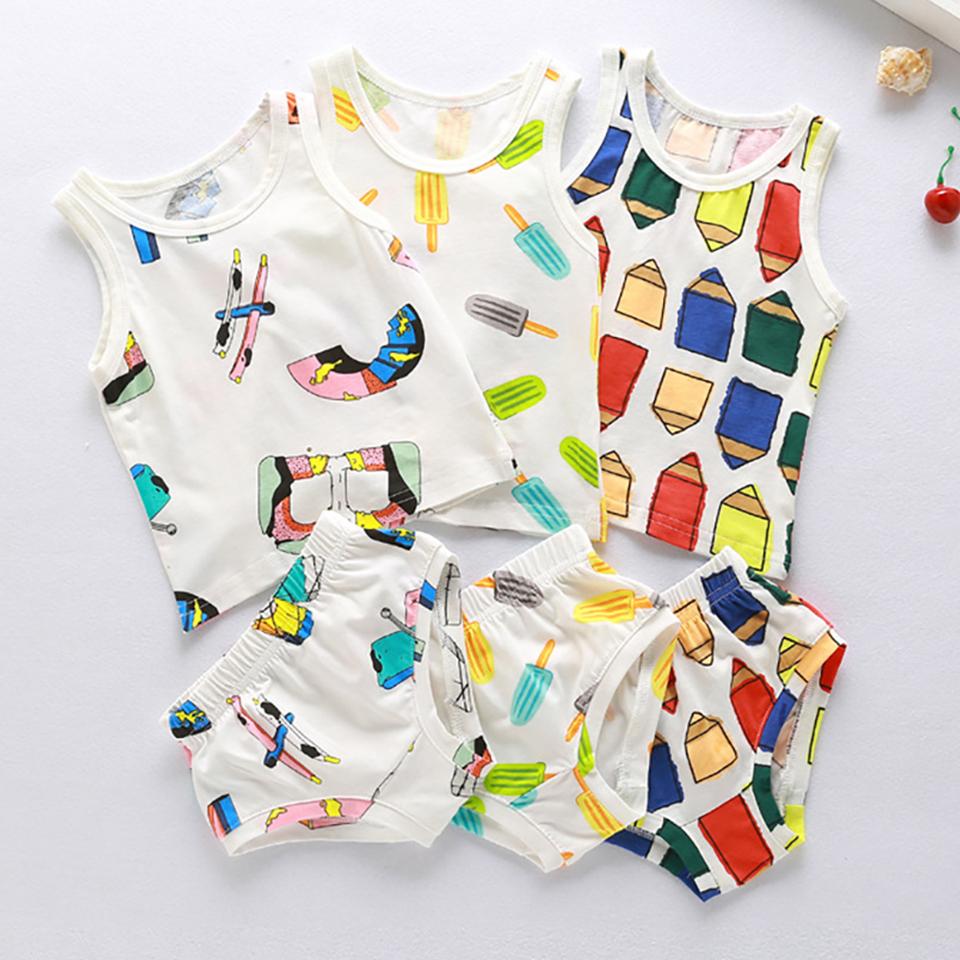 80-110cm Boys Girl Fashion Sleeveless Vest Bread Pants Summer Set Kids Baby Cotton Tops Tank Briefs Underwear Clothing Set 016(China (Mainland))