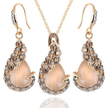 Fine Jewelry sets 2015 New Fashion Rose Gold Filled Pink Opal Crystal Peacock Necklace Earring Wedding jewellery Set for women(China (Mainland))