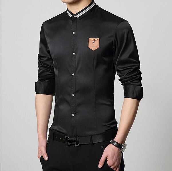 New 2015 fashion summer style slim fit easy care formal for Formal shirts for men online