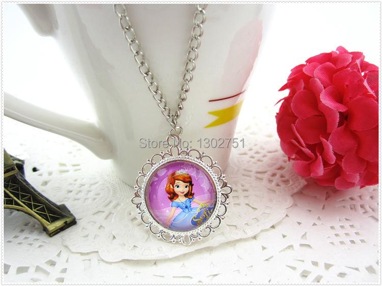 Low price 1pc Sofia Princess kids baby girls boys pendants cartoon toy sweater necklace children party jewelry acessories(China (Mainland))