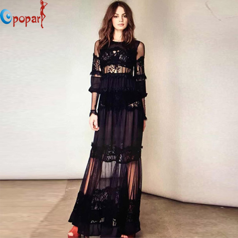 2016 New European Style Women Sexy Long Summer Black Lace Dress See Through Full Sleeve Elegant Dress Vestidos Plus Size LS166(China (Mainland))