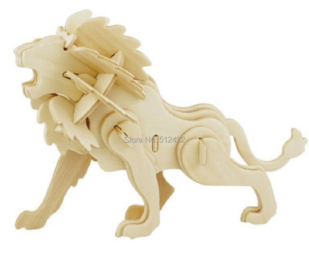 JP225 3D Assembly Wooden Animal Puzzle (Lion)(China (Mainland))