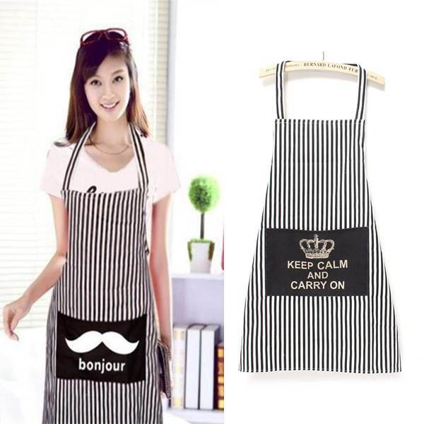 Black Stripe Simple Sweet Lover Couple Aprons Home Kitchen Cooking Cleaning Convenient Waist Apron(China (Mainland))