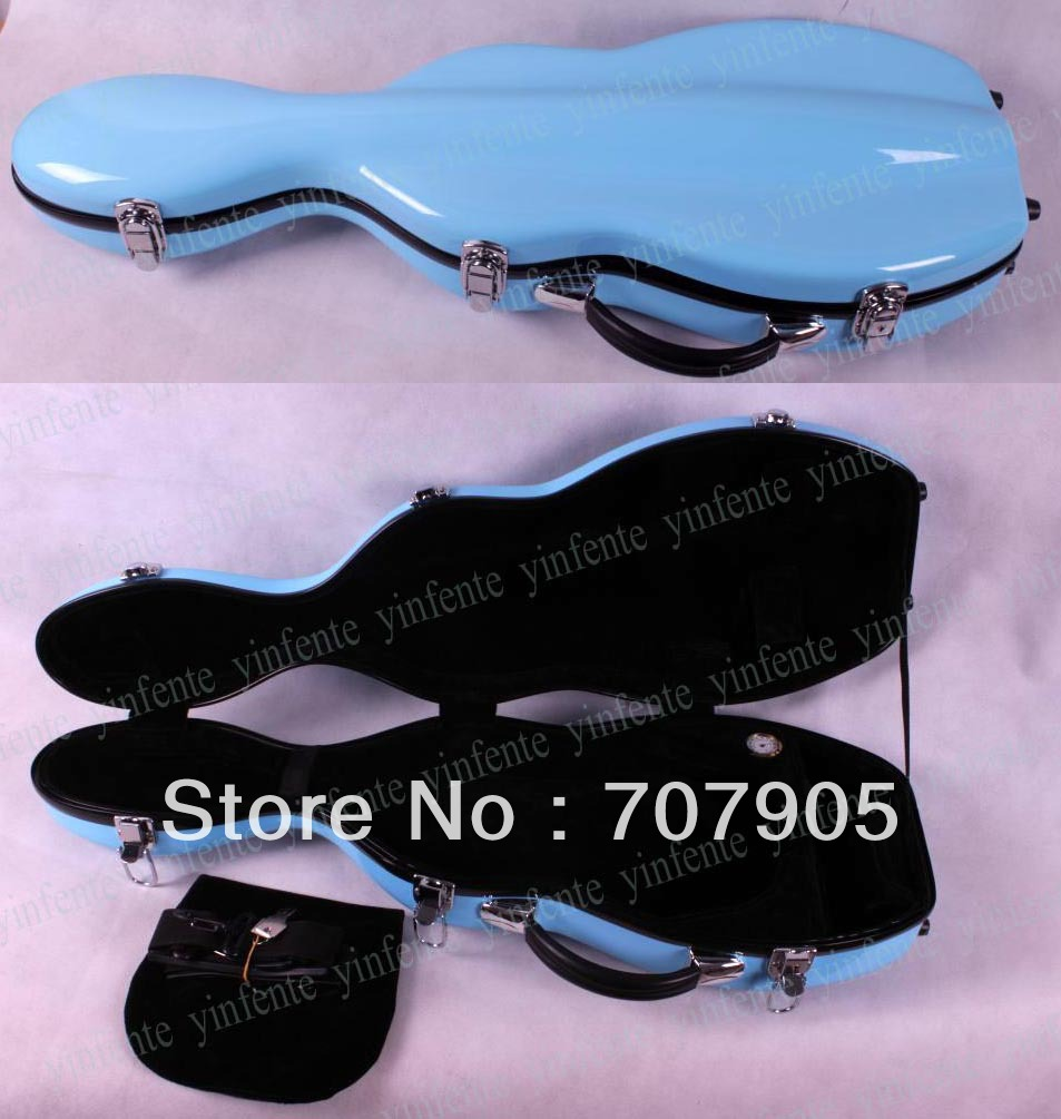 Фотография New Violin case 4/4 Glass fiber Waterproof Light Durable Dropshipping Wholesale reinforced Sky Blue1 pcs