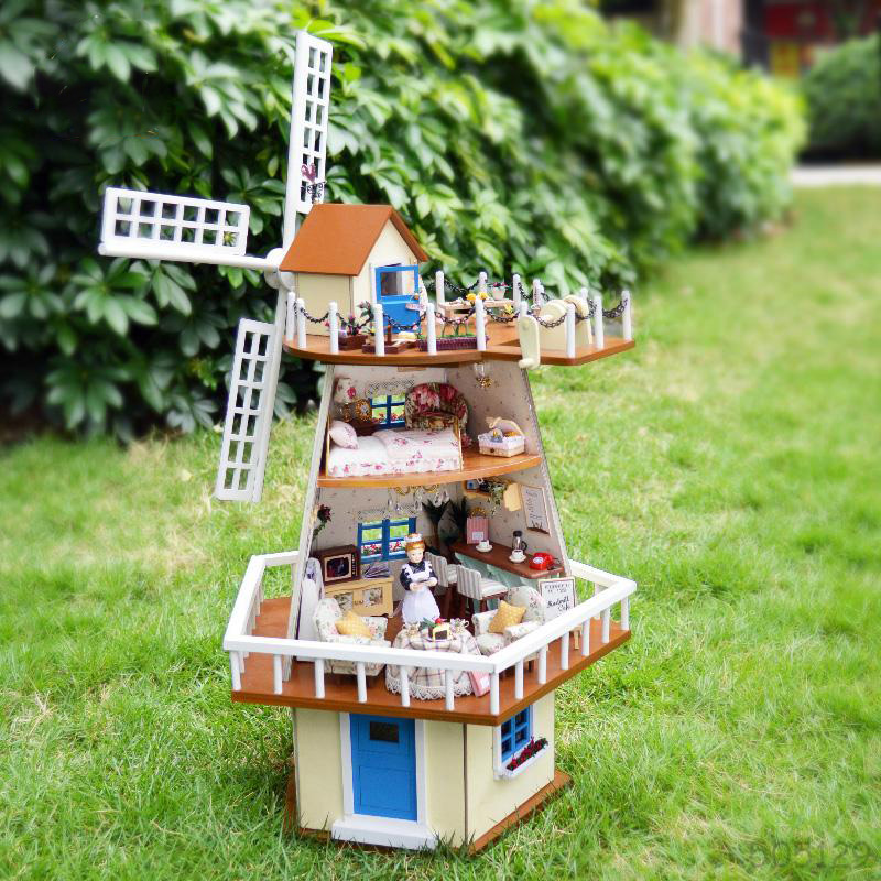 Assembling Miniature Wooden DIY Doll Model House Kit Villa Toy With Furnitures For Birthday Gift Windmill House 1set/lot(China (Mainland))