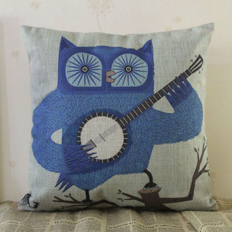 LINKWELL 18x18 inches Cartoon Blue Owl on Wood Play Zheng Chinese Zither Burlap Pillowcase Cushion Cover