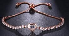 EMMAYA 調節可能な女性ブレスレットハート形 Rhinesto 立方ジルコンクリスタル女性のブレスレットの宝石女性のチャームブレスレット(China)