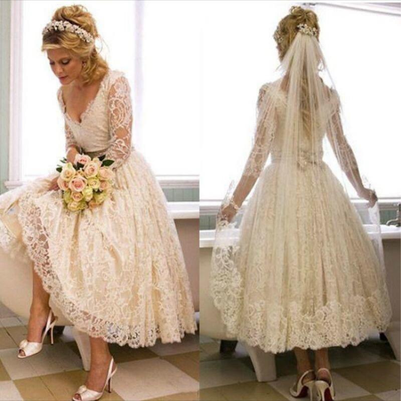 Vintage Long Sleeve Ivory Short Ankle Length Wedding Dress 2017 Vestidos De Novia