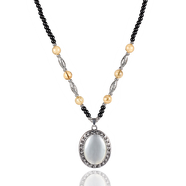Antique Silver Necklace Beads Chain Pendent Jewery Oval Opal Pendant Necklace(China (Mainland))