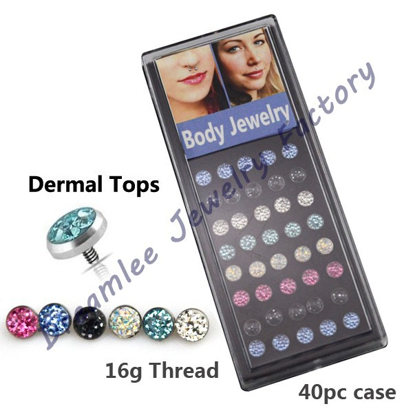 Dreamlee 40pieces Ferido Multi Crystal Epoxy Bling Dermal Anchor Tops Head Body Piercing Jewelry(China (Mainland))