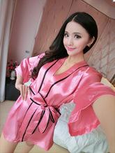 summer faux silk bathrobe women sexy lingerie kimono-sleeved hot drilling lounge female sleepwear bata peignoir femme B351(China (Mainland))