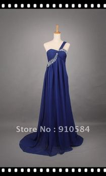 2012 Sexy turquoise One-Shoulder Beaded Shirred Chiffon Prom Evening Homecoming Dresses Party Dress