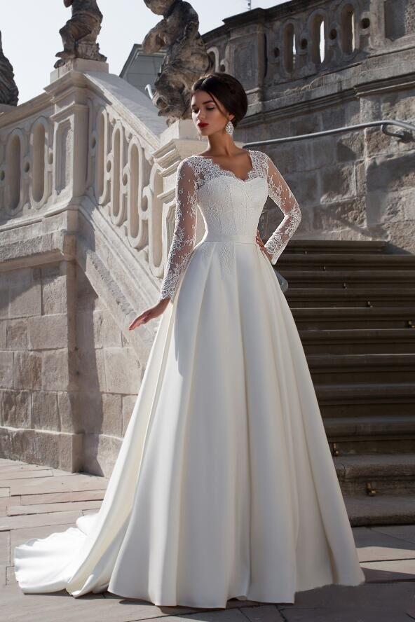 Новый 2016 Прибытие V-образным Вырезом С Длинным Рукавом Кружева Свадебные Платья С Плиссированной Плюс Размер Vestido Де Noiva Индивидуальные