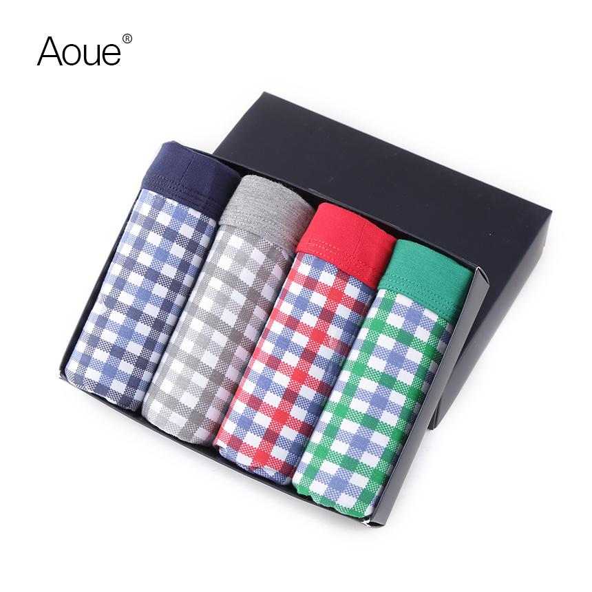 Aoue Sexy Mens Plaid Print Brand Boxes pack Underwear 4PCS lot Cueca Boxers Masculina shorts underpants Male Panties(China (Mainland))