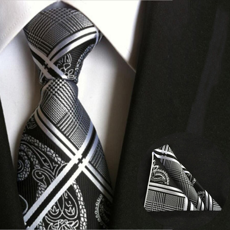 2016 8cm Business Polyester Silk Ties for Men Formal Striped Dot Floral Wedding Neckties & Handkerchief Set Pocket Square Towel(China (Mainland))