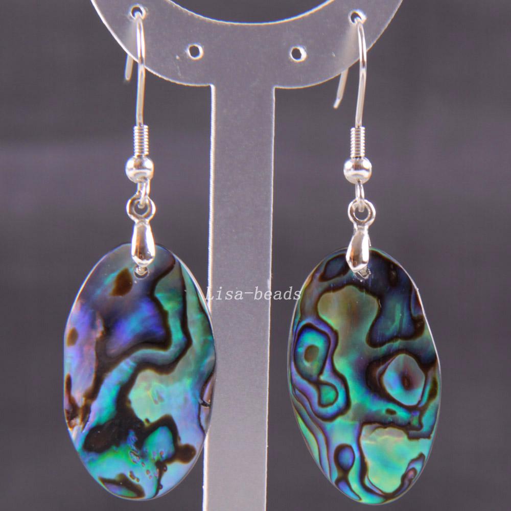 Fashion Jewelrly Oval Natural Blue New Zealand Abalone Shell Dangle Earrings 1Pair U268(China (Mainland))