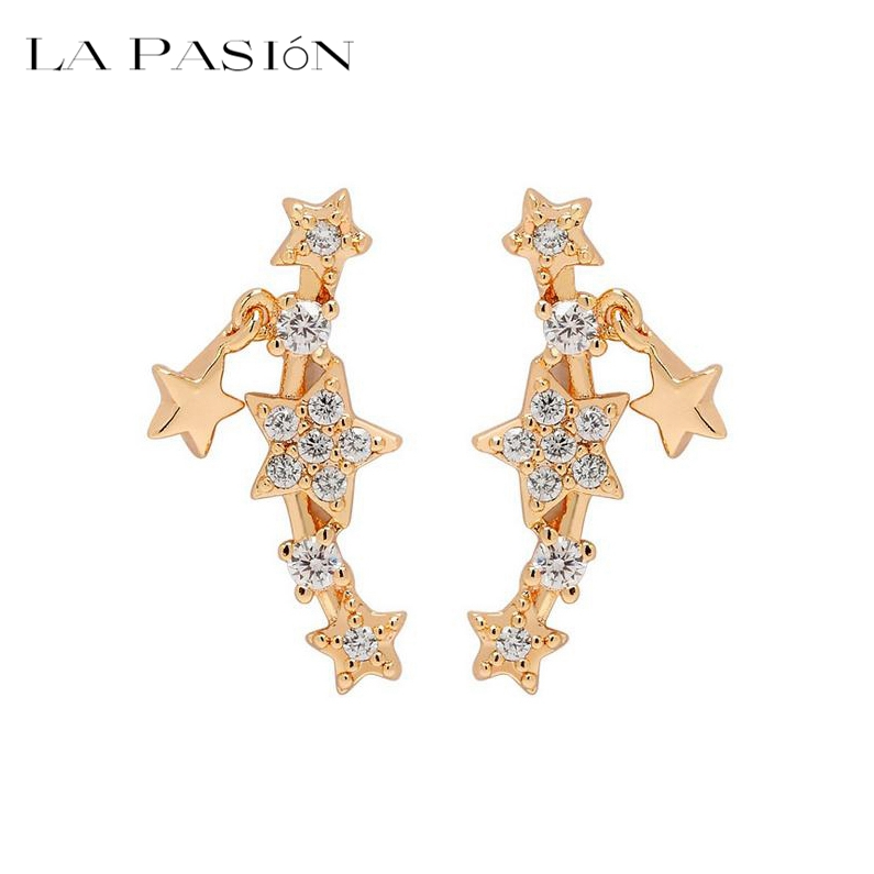 Brand Trendy Top Quality Korean Style Cubic zirconia Super Star Earrings for Women Girls Luxury Rose Gold Jewelry(China (Mainland))