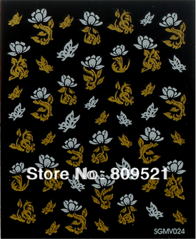 Super!6Sheet Lace 3D Nail Art Sticker Black Flowers Decal Manicure French Style Mix Flower SGMV019-024
