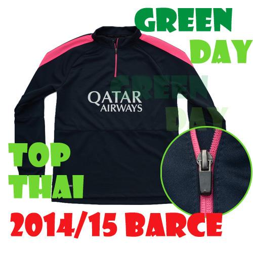 2015 La Liga football sweater half opening BL BLACK Messi Suarez Xavi Neymar 14 15 Top Thai Quality BL training kit sweater(China (Mainland))