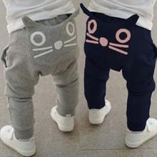 Alta calidad caliente venta nueva ropa infantil chicos chicas harem 100% algodón gato encantador largos pantalones de bebé(China (Mainland))