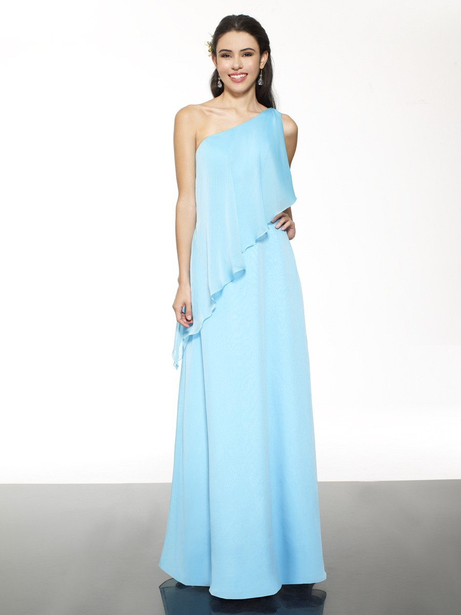 Hole sale one shoulder blue chiffon long bridesmaid for Mint and gold wedding dress