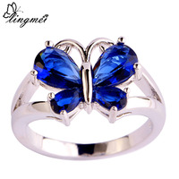 lingmei Noble Sapphire Quartz  Silver Ring Size 6 7 8 9 10 11 Free Shipping Jewelry Beautiful Butterfly For Women Wholesale