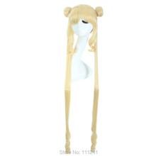 Free Shipping 100cm Long Curly Sailor Moon wigs Blonde Party Hair Synthetic Anime cosplay Costume wigs
