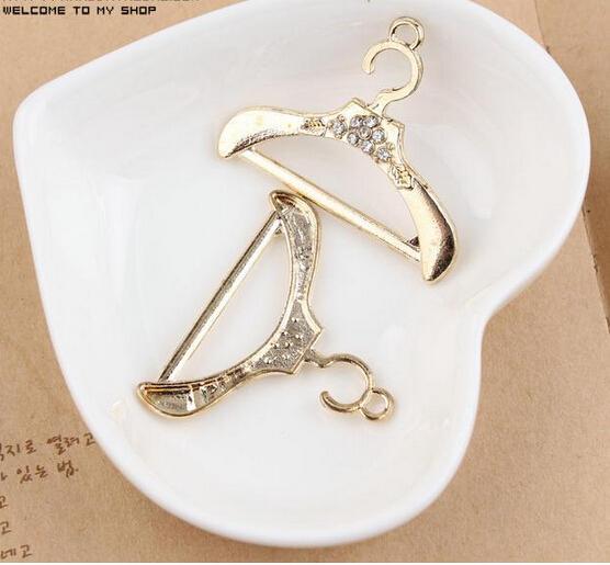 Free shipping Rhinestone decoration alloy gold plated metal Coat hanger shape jewelry charms diy phone/key chain pendants(China (Mainland))