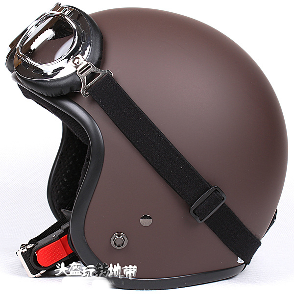 """TT#05 Taiwan 3/4 Style """"SYC"""" Motorcycle Helmet ABS Vintage Scooter Casco Open Face All Matte Coffee Helmet & UV Glasses Adult(China (Mainland))"""